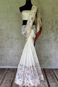 Buy cream matka silk saree online in USA with floral work border and pallu. Redefine your ethnic sartorial choice with a splendid variety of handwoven silk saris from Pure Elegance Indian clothing store in USA.-full view