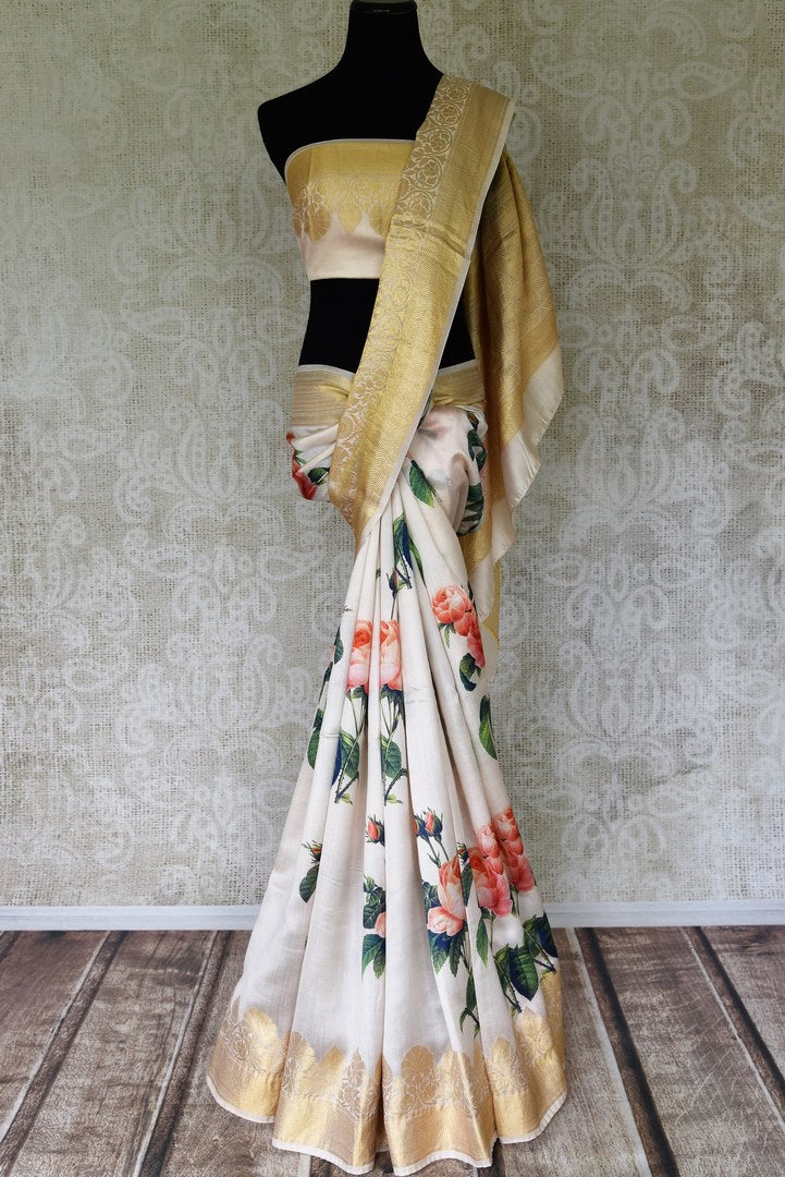 Shop off-white printed Bangalore silk saree online in USA with foliate zari border. Shop such finely handcrafted Indian sarees from Pure Elegance Indian fashion store in USA for weddings and special occasions.-full view
