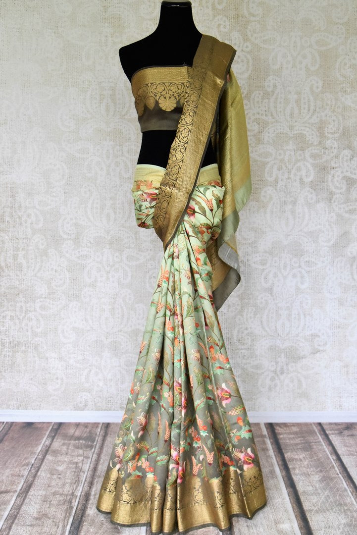 Buy ombre olive green Bangalore silk saree online in USA with golden zari border. Shop such finely handcrafted Indian sarees from Pure Elegance Indian fashion store in USA for weddings and special occasions.-full view