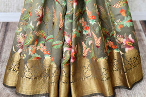 Buy ombre olive green Bangalore silk saree online in USA with golden zari border. Shop such finely handcrafted Indian sarees from Pure Elegance Indian fashion store in USA for weddings and special occasions.-pleats