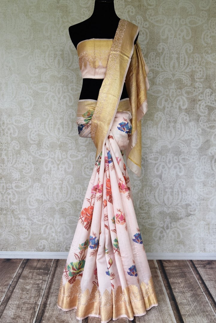 Buy gorgeous powder pink printed Bangalore silk saree online in USA with foliate zari border. Shop such finely handcrafted Indian sarees from Pure Elegance Indian fashion store in USA for weddings and special occasions.-full view