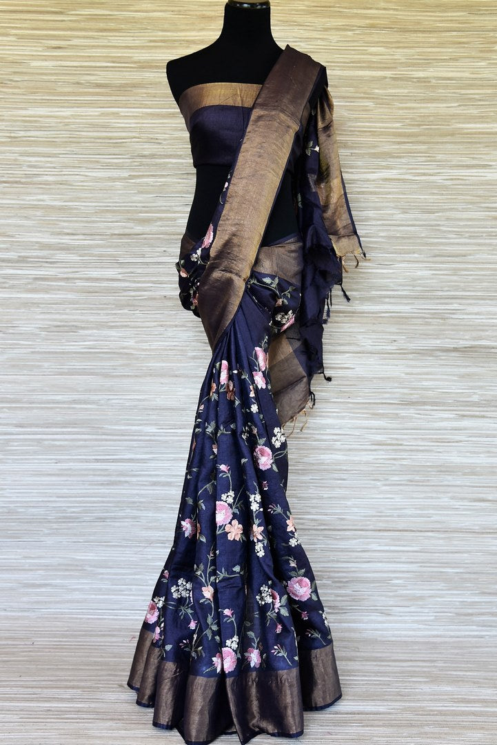 Shop navy blue floral embroidery tussar saree online in USA with zari border. Be the talk of every occasions with your elegant saree look in designer sarees, embroidered sarees, handwoven silk sarees from Pure Elegance Indian fashion store in USA.-full view