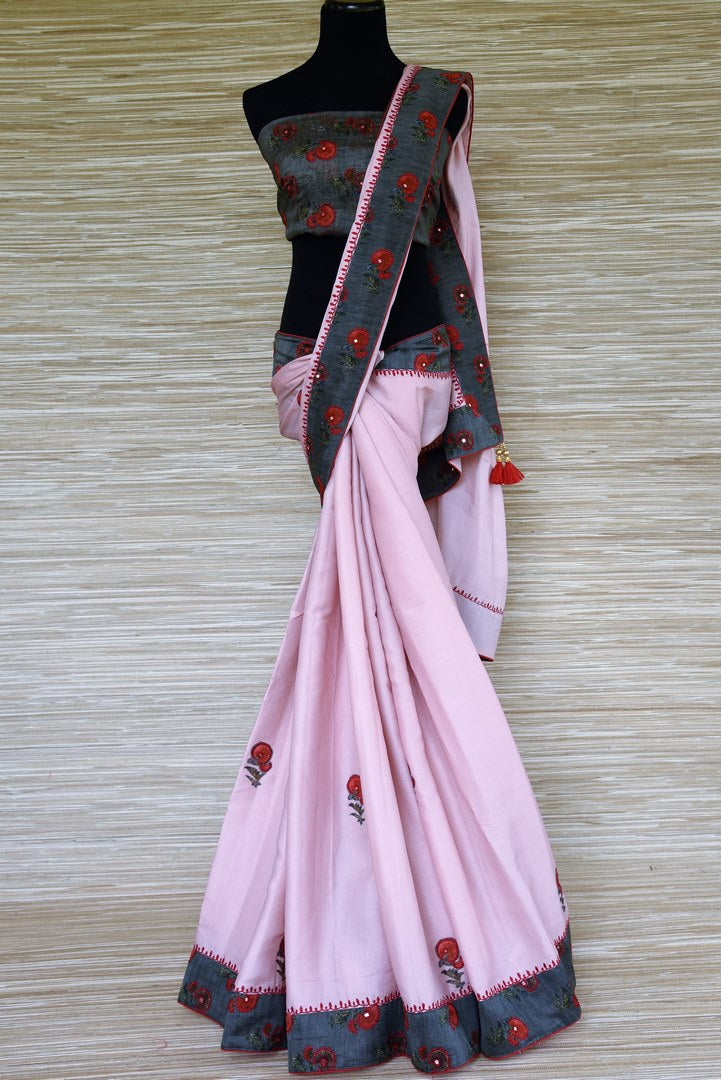 Shop soft pink silk sari online in USA with grey embroidered border. Elevate your ethnic style with a tasteful collection of Indian handwoven sarees from Pure Elegance Indian clothing store in USA.-full view