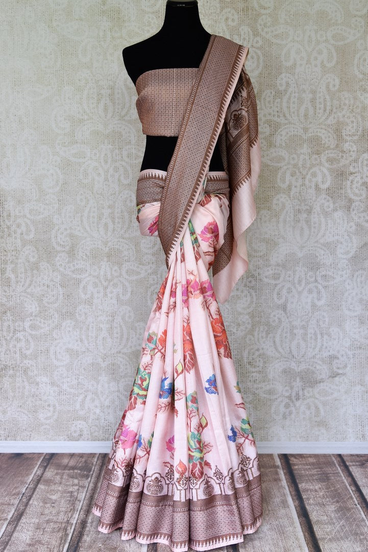 Shop elegant soft pink floral print Bangalore silk saree online in USA. Shop such finely handcrafted Indian sarees from Pure Elegance Indian fashion store in USA for weddings and special occasions.-full view