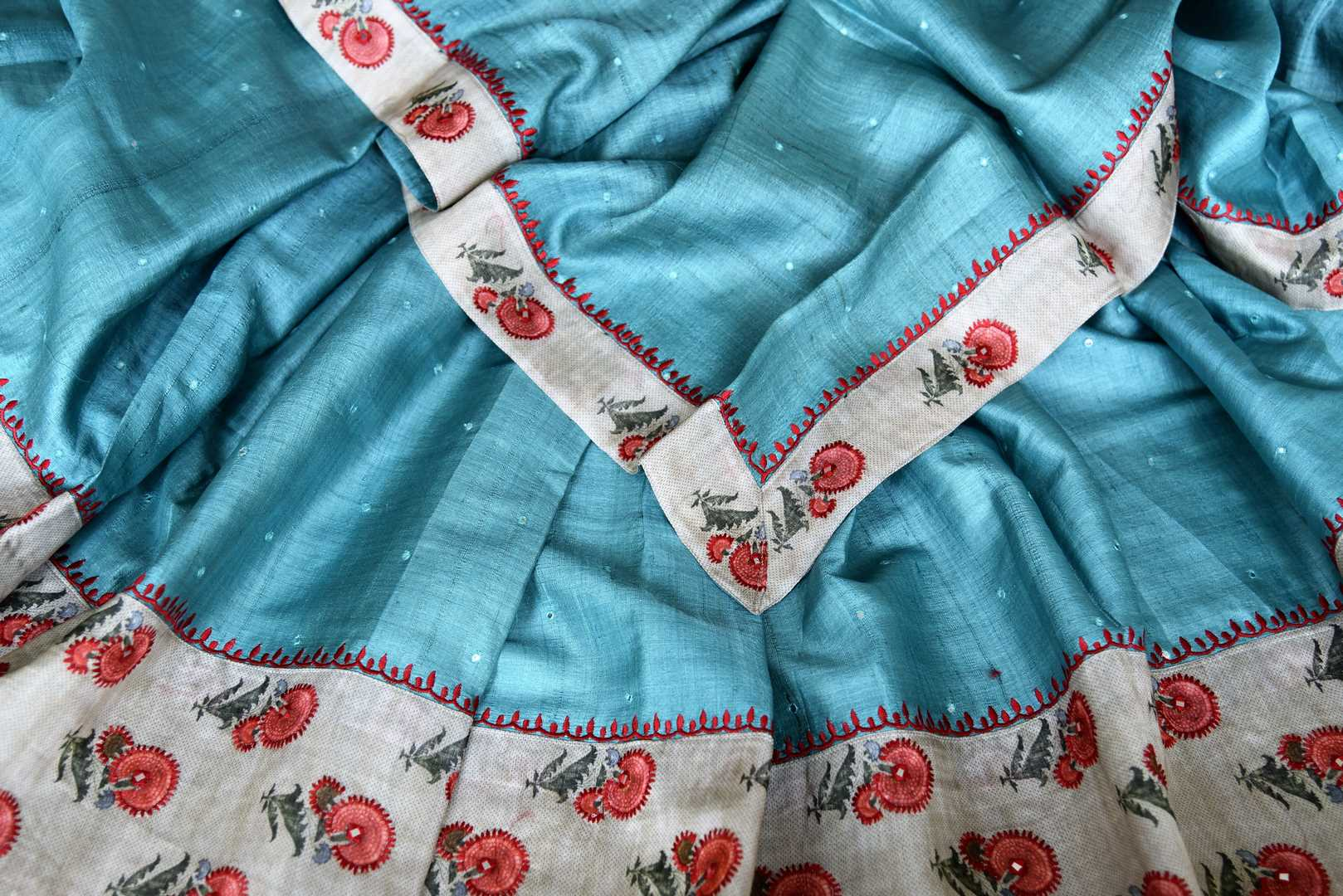 90I468 Blue Tussar Saree with Embroidered Floral Border