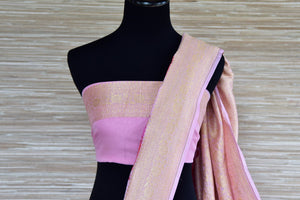 Shop pink floral georgette Banarasi saree online in USA with zari border. Radiate traditional charm with beautiful Banarasi sarees from Pure Elegance Indian clothing store in USA. Choose from a variety of Banarasi silk sarees, Banarasi georgette sarees, Banarasi tussar saris for special occasions.-blouse pallu