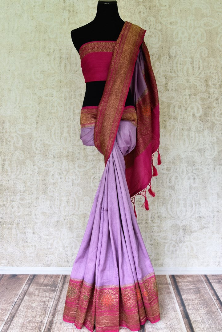 Buy lavender color muga Banarasi sari online in USA with pink minakari antique zari border. Be an epitome of elegance in exquisite Banarasi saris from Pure Elegance Indian clothing store in USA.-full view