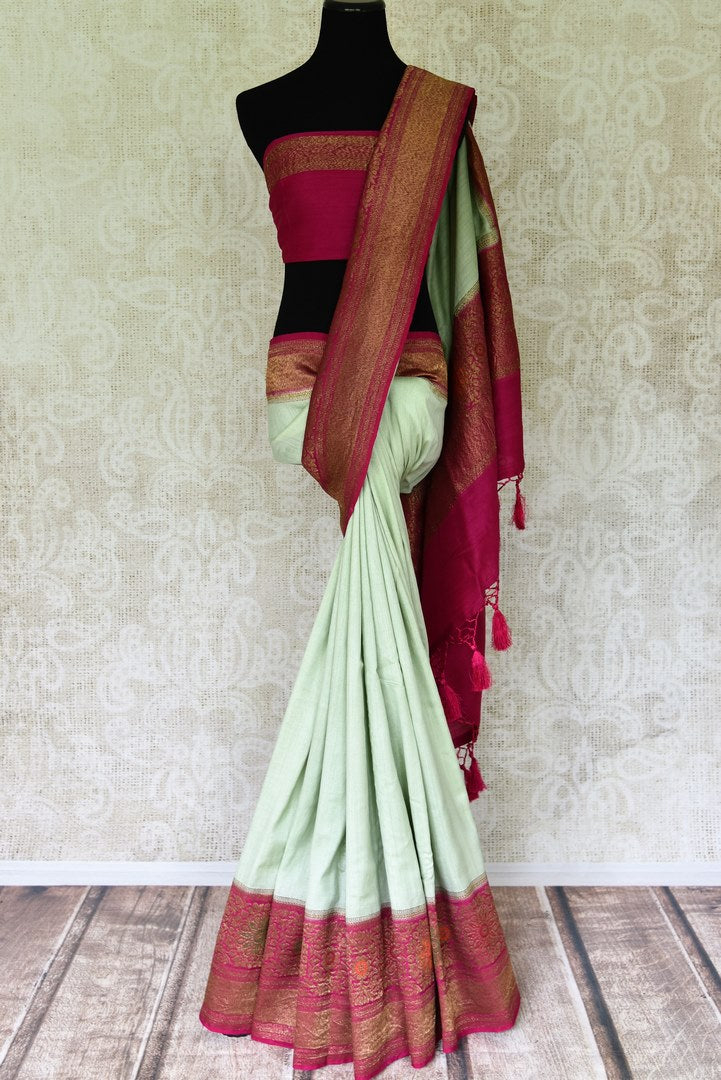 Buy stunning mint green muga Banarasi sari online in USA with pink minakari antique zari border and pallu. Be an epitome of elegance in exquisite Banarasi saris from Pure Elegance Indian clothing store in USA.-full view