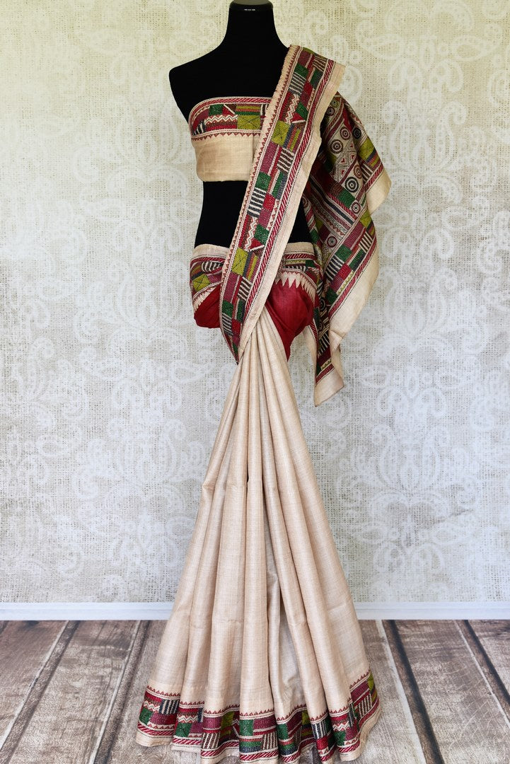 28f2c38f41959b 90I516 Beige and Red Silk Saree with Multicolor Kantha Work Border—Regular  price$ 325.00