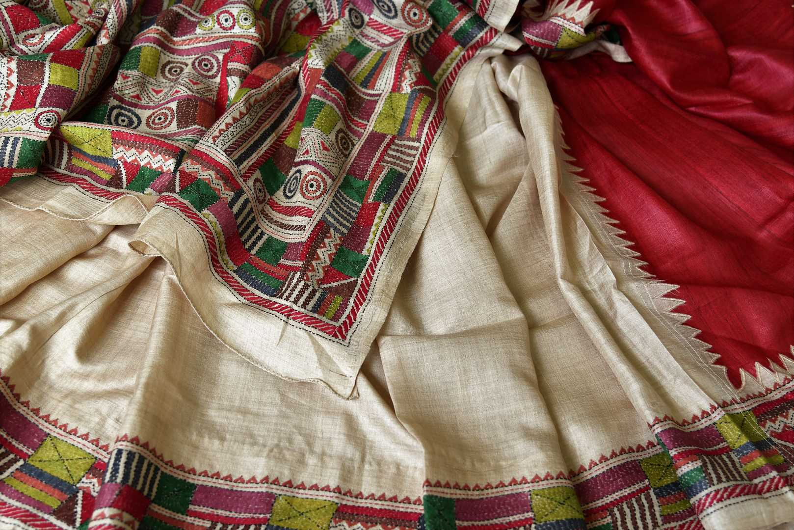 Buy beige and red silk saree online in USA with multicolor kantha work border. Make special occasions even more special with your captivating traditional style in Banarasi sarees from Pure Elegance Indian clothing in USA.-details