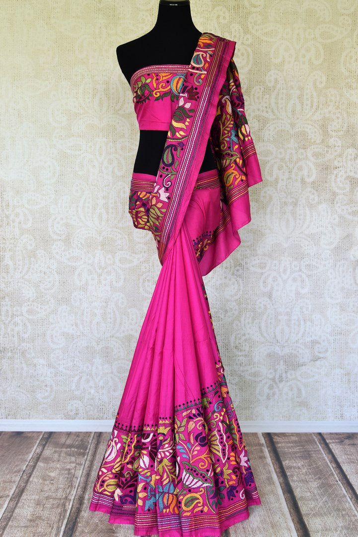 87504be2452a25 90I517 Pink Silk Saree with Multicolor Floral Kantha Work Border—Regular  price$ 275.00