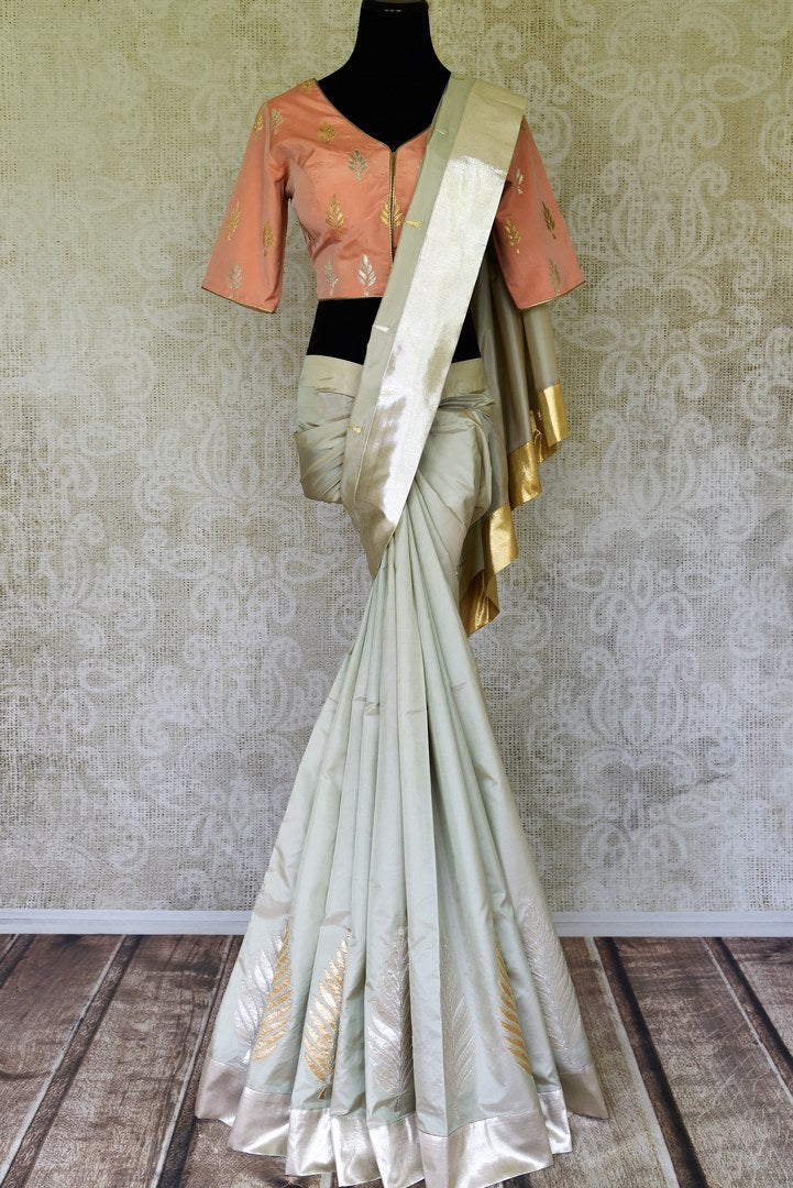 Shop grey applique work silk saree online in USA with peach saree blouse. Update your saree wardrobe with stunning Indian designer sarees from Pure Elegance Indian fashion store in USA. Shop now.-full view