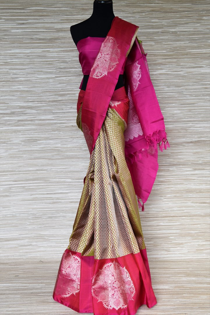 Buy green zari buta Kanjeevaram sari online in USA with pink zari buta border. Update your saree wardrobe with latest designs in Kanjeevaram silk sarees from Pure Elegance Indian clothing in USA. Shop online now.-full view