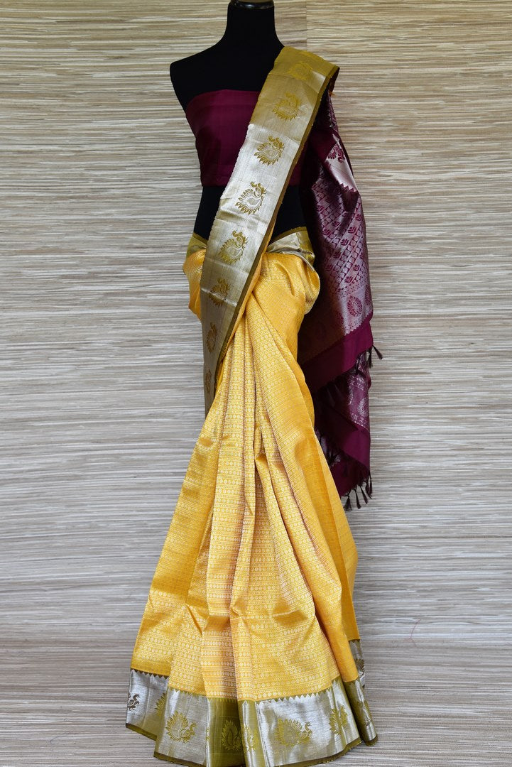 Shop yellow silver zari work Kanjeevaram saree online in USA. Update your saree wardrobe with latest designs in Kanjeevaram silk sarees from Pure Elegance Indian clothing in USA. Shop online now.-full view
