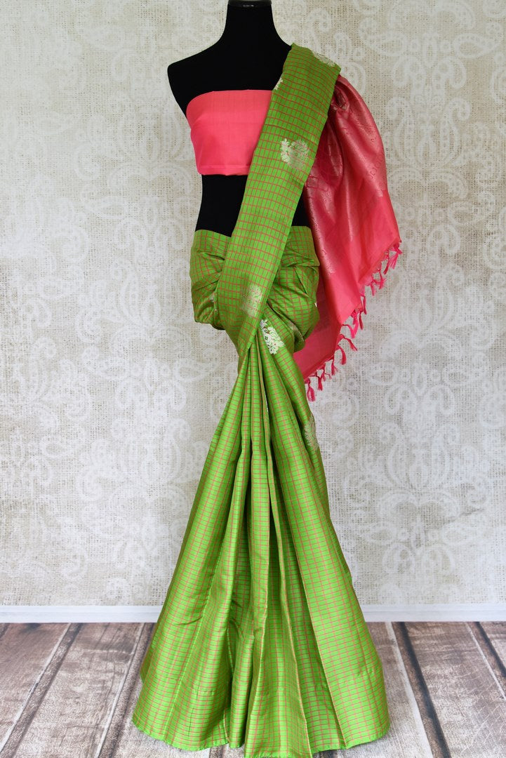 Shop beautiful green check Kanjivaram saree online in USA with pink zari pallu. Update your ethnic wardrobe with latest Indian sarees, Kanjeevaram silk sarees, designer sarees and Indian clothing from Pure Elegance Indian clothing store in USA.-full view