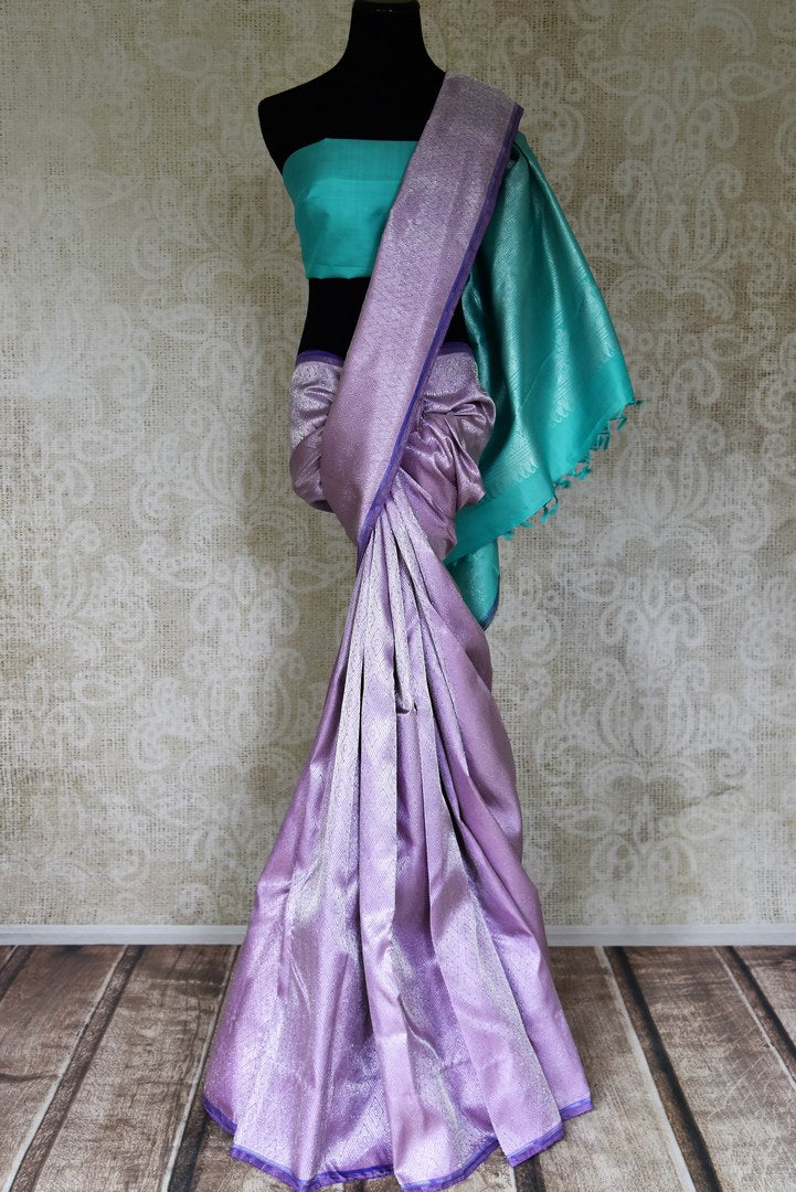 Buy lavender color silver zari work Kanjivaram sari online in USA. Shop beautiful Kanchipuram silk sarees, designer saris, handwoven silk sarees for special occasions from Pure Elegance Indian fashion store in USA.-full view