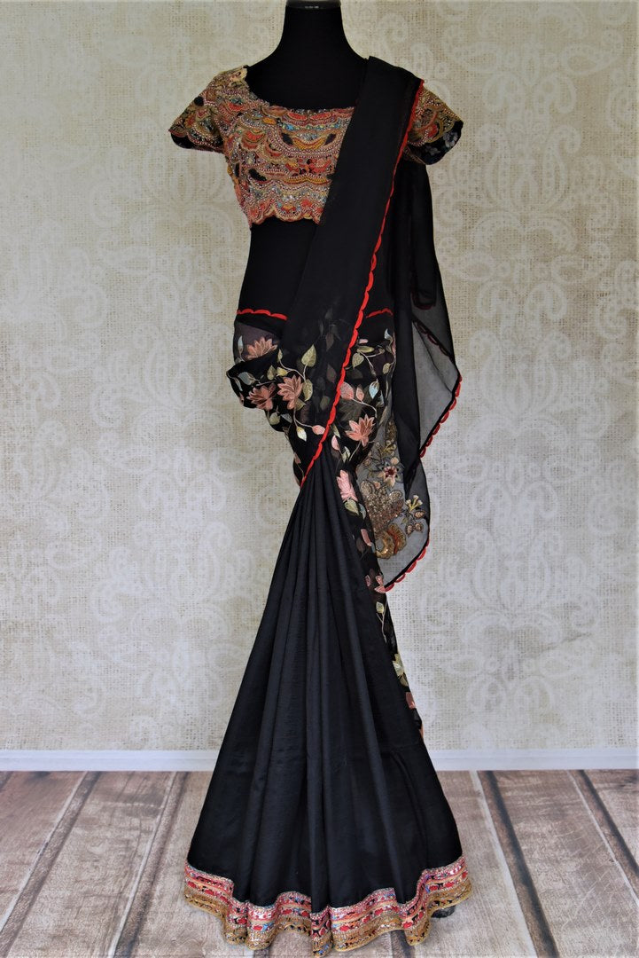 Shop exquisite black embroidered organza saree online with embroidered saree blouse. Turn heads at parties and weddings with exquisite designer saris with blouse, handloom sarees, embroidered sarees from Pure Elegance Indian clothes store in USA.-full view