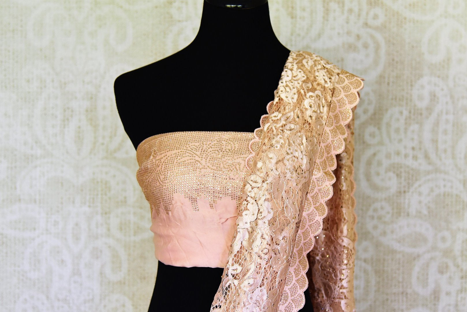 Buy stunning powder pink lace saree online in USA with stone work. Be the highlight of every occasion with beautiful embroidered designer saris from Pure Elegance Indian clothing store in USA. Shop online now.-blouse pallu