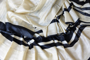 Shop cream and black striped tussar silk sari online in USA with kantha embroidery. Update your ethnic wardrobe with latest Indian sarees, pure silk sarees, designer sarees and Indian clothing from Pure Elegance Indian clothing store in USA.-details