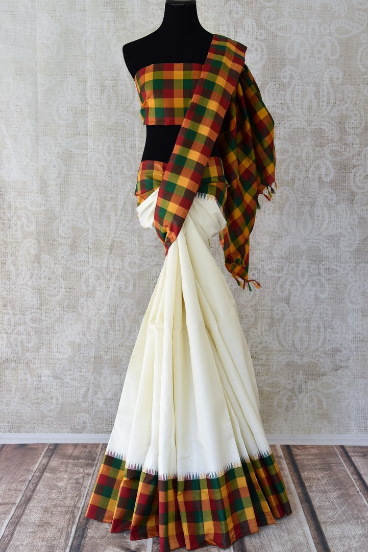 Buy elegant off-white Kanjeevaram silk saree online in USA with check border. Enhance your ethnic style with exquisite Kanchipuram silk saris from Pure Elegance Indian clothing store in USA.-full view