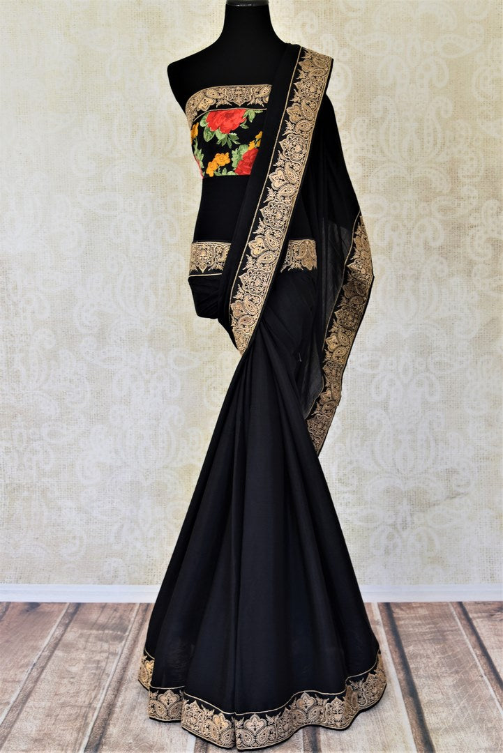 Shop ravishing black chiffon saree online in USA with embroidered border. Shop such gorgeous embroidered sarees, designer sarees in USA from Pure Elegance Indian clothes store in USA for special occasions.-full view