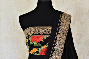 Shop ravishing black chiffon saree online in USA with embroidered border. Shop such gorgeous embroidered sarees, designer sarees in USA from Pure Elegance Indian clothes store in USA for special occasions.-blouse pallu