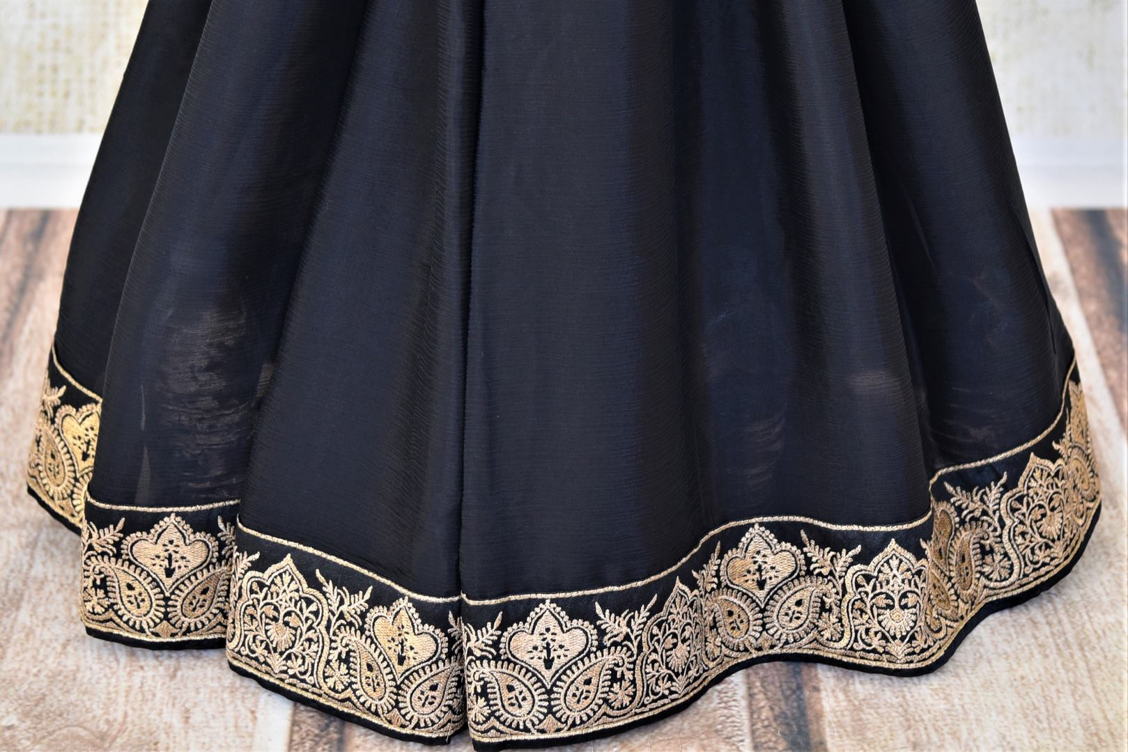 Shop ravishing black chiffon saree online in USA with embroidered border. Shop such gorgeous embroidered sarees, designer sarees in USA from Pure Elegance Indian clothes store in USA for special occasions.-pleats