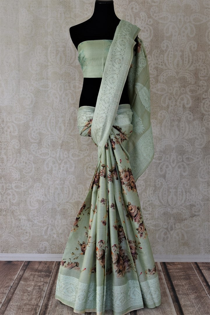 Buy stunning sage green floral tussar saree online in USA with embroidery. Update your saree wardrobe with latest Indian sarees, handwoven sarees, pure silk sarees from Pure Elegance Indian boutique in USA. Shop now.-full view