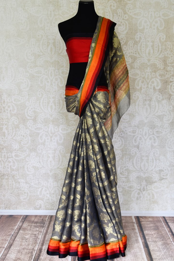 Buy grey zari tissue saree online in USA with multicolor border. Flaunt your ethnic style with tasteful Banarasi sarees, pure silk sarees, handloom sarees from Pure Elegance Indian clothing store in USA.-full view