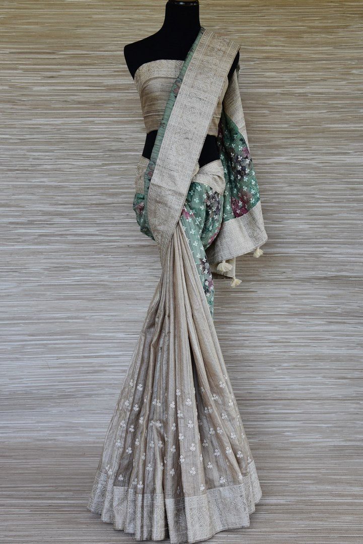 Shop beautiful green and beige half and half embroidered tussar saree online in USA. Update your saree wardrobe this festive season with latest designer sarees. soft silk sarees, handwoven saris from Pure Elegance Indian cloth store in USA. Shop online  now.-full view