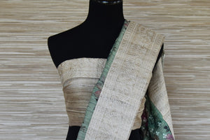 Shop beautiful green and beige half and half embroidered tussar saree online in USA. Update your saree wardrobe this festive season with latest designer sarees. soft silk sarees, handwoven saris from Pure Elegance Indian cloth store in USA. Shop online  now.-blouse pallu