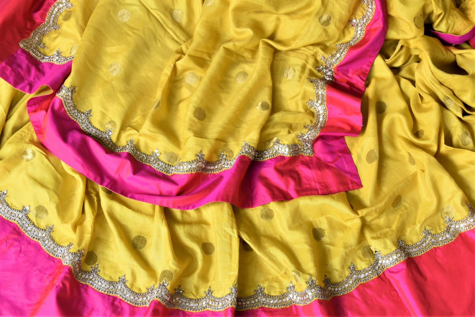 90I742 Yellow Gota Embroidery Silk Saree with Solid Pink Border