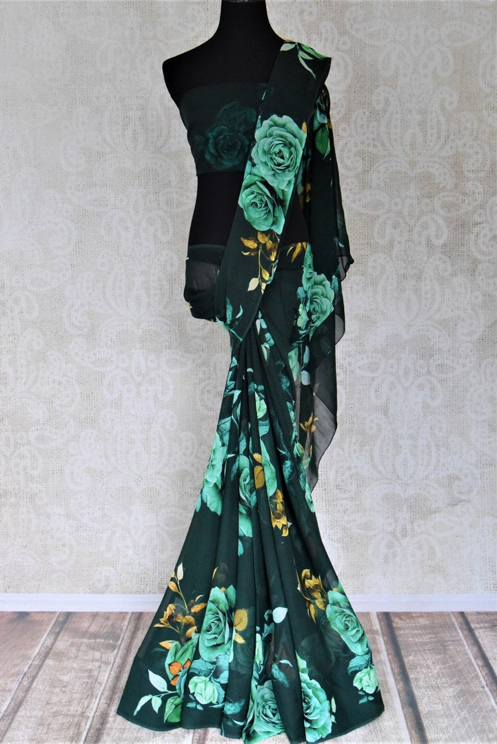 Shop attractive dark green floral georgette sari online in USA. Shop stunning printed sarees, georgette sarees, floral sarees in USA from Pure Elegance Indian cloth boutique in USA. Visit our store now.-full view