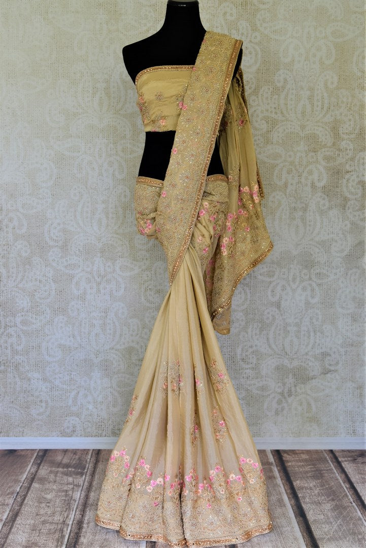 Buy stunning beige pearl embroidery chiffon saree online in USA. Enhance your traditional saree style at weddings and festive occasions with designer sarees with blouse, handwoven sarees from Pure Elegance Indian clothing store in USA.-full view