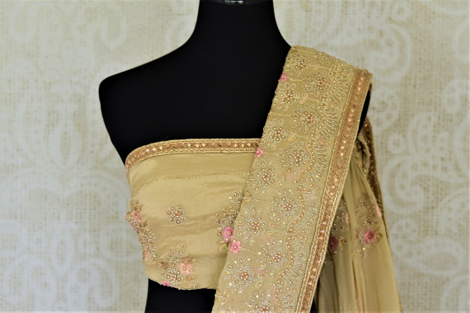 Buy stunning beige pearl embroidery chiffon saree online in USA. Enhance your traditional saree style at weddings and festive occasions with designer sarees with blouse, handwoven sarees from Pure Elegance Indian clothing store in USA.-blouse pallu