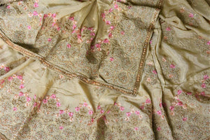 Buy stunning beige pearl embroidery chiffon saree online in USA. Enhance your traditional saree style at weddings and festive occasions with designer sarees with blouse, handwoven sarees from Pure Elegance Indian clothing store in USA.-details