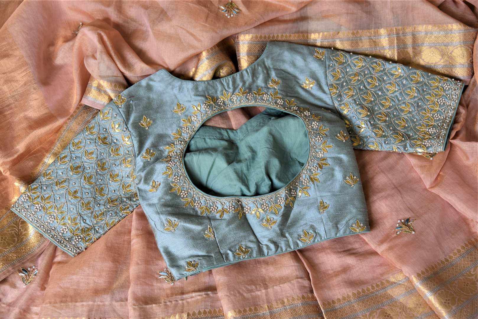 90I845 Dusty Pink Embroidered Tissue Linen Saree with Gota Work Blouse