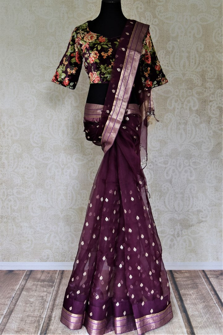 Shop stunning purple embroidered organza saree online in USA with floral velvet saree blouse. Enter the world of exquisite designer sarees and Indian clothing at Pure Elegance Indian clothing store in USA. Shop handwoven sarees, Banarasi sarees, soft silk sarees online or from our store.-full view