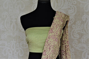Shop contemporary mint green and pink lace saree online in USA with stone work. Embrace ethnic elegance in stunning designer sarees, embroidered sarees with blouses, partywear sarees from Pure Elegance from Indian cloth store in USA.  Shop online or visit our store now.-blouse pallu