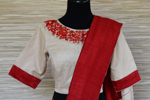 Buy cream tussar saree online in USA with red border and embroidered blouse. Update your saree wardrobe this festive season with latest designer sarees. soft silk sarees, handwoven saris from Pure Elegance Indian cloth store in USA. Shop online  now.-blouse pallu
