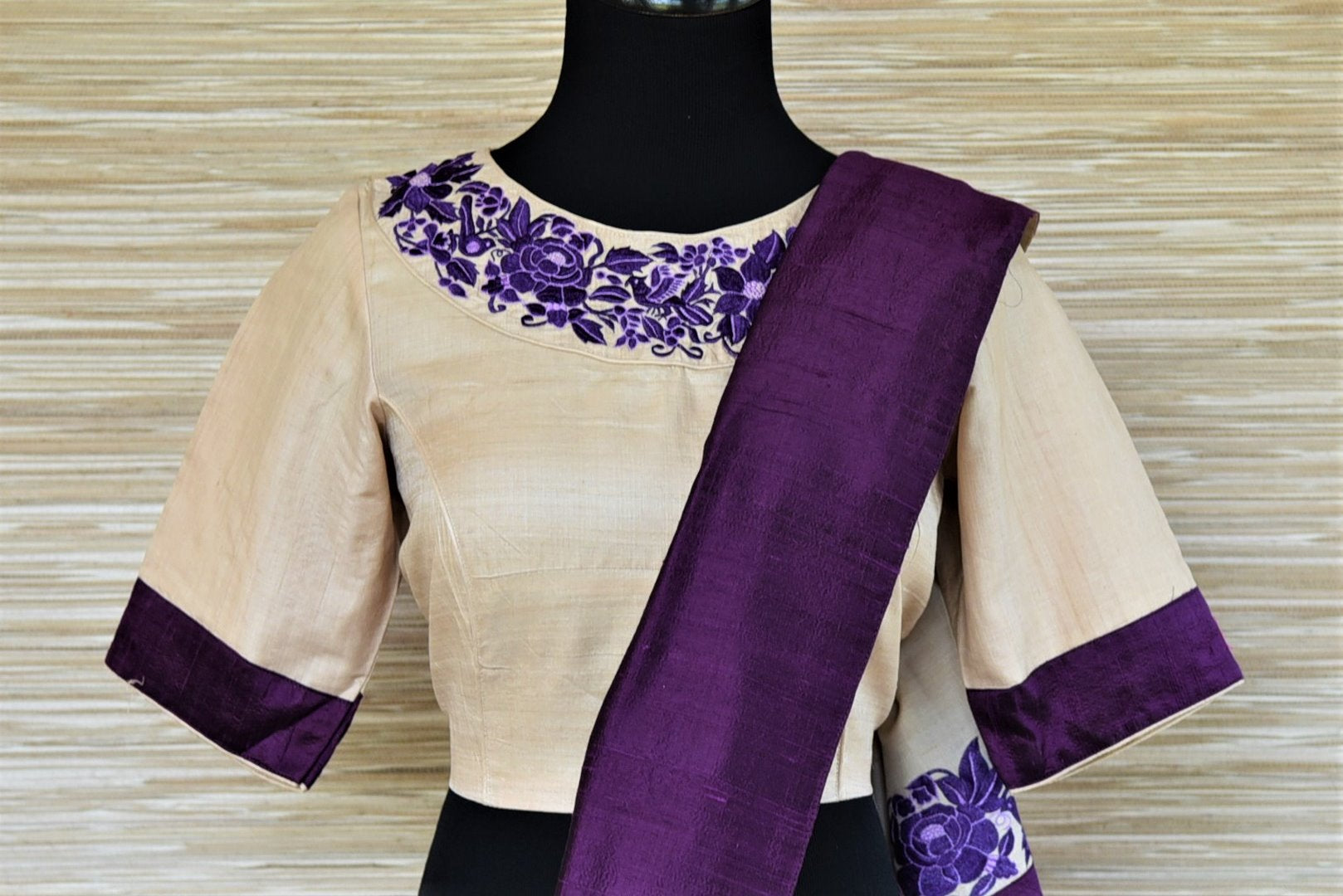 Buy stunning cream tussar sari online in USA with purple border and embroidered saree blouse. Grab exquisite handwoven sarees, embroidered saris, designer sarees with blouse for the coming festive and wedding season from Pure Elegance Indian boutique in USA. Shop online now.-blouse pallu