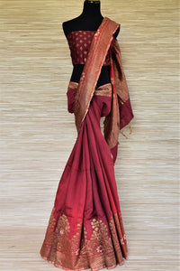 Buy maroon two-tone muga Benarasi saree online in USA with zari border. Grab exquisite Banarasi saris, embroidered saris, pure silk sarees for the coming festive and wedding season from Pure Elegance Indian boutique in USA. Shop online now.-full view