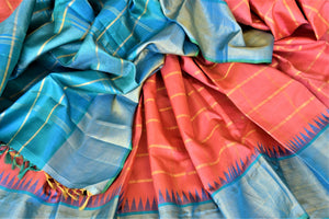Shop coral zari check Kanchipuram sari online in USA with blue zari border and zari pallu. Go for rich traditional festive look with beautiful Kanchipuram silk sarees, soft silk sarees, Banarasi silk saris from Pure Elegance Indian cloth store in USA. -details