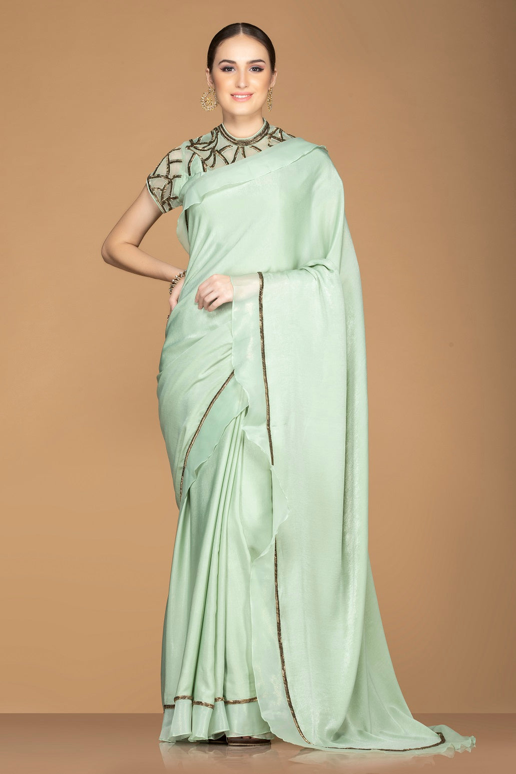 Shop mint green designer crepe saree online in USA with embroidered blouse. Keep your ethnic fashion on point with exquisite designer sarees, partywear sarees, embroidered sarees from Pure Elegance Indian fashion boutique in USA.-full view