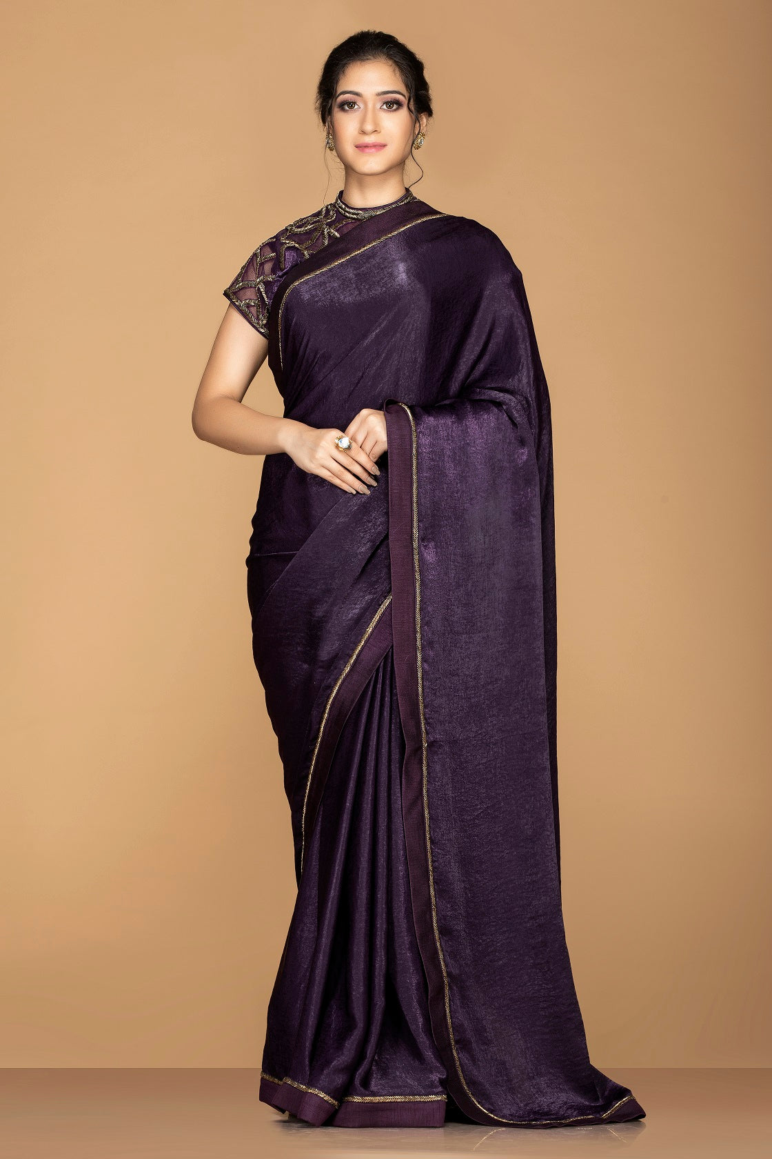 Shop ravishing purple designer sari online in USA with embroidered blouse. Keep your ethnic fashion on point with exquisite designer sarees, partywear sarees, embroidered sarees from Pure Elegance Indian fashion boutique in USA.-full view
