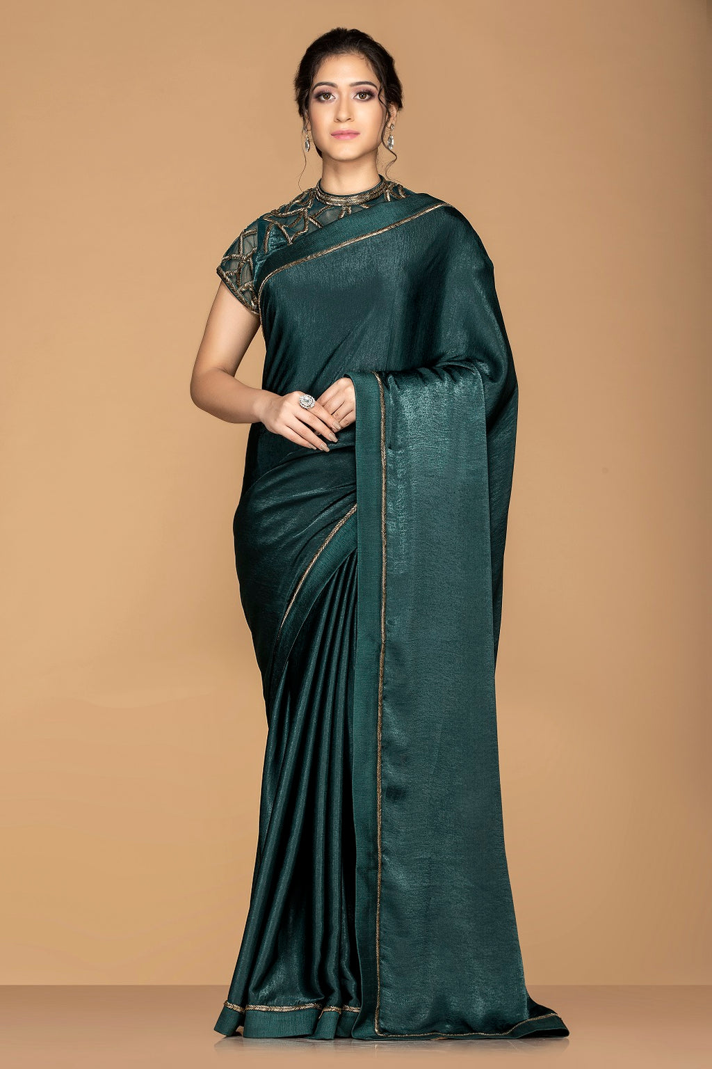 Buy elegant dark green designer saree online in USA with embroidered blouse. Keep your ethnic fashion on point with exquisite designer sarees, partywear sarees, embroidered sarees from Pure Elegance Indian fashion boutique in USA.-full view