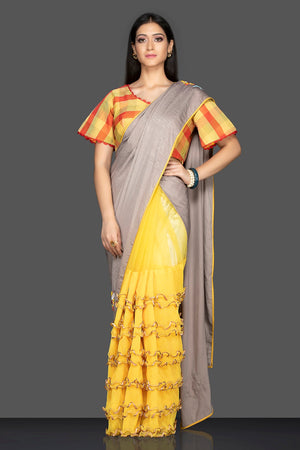 Shop grey and yellow designer saree online in USA and check saree blouse. Elevate your sartorial choice with exclusive Indian designer sarees with blouse, embroidered sarees, pure silk sarees from Pure Elegance Indian fashion store in USA.-front