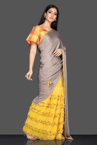 Shop grey and yellow designer saree online in USA and check saree blouse. Elevate your sartorial choice with exclusive Indian designer sarees with blouse, embroidered sarees, pure silk sarees from Pure Elegance Indian fashion store in USA.-full view