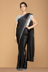 Shop classic black designer saree online in USA with silver embroidery and embroidered blouse. Keep your ethnic fashion on point with exquisite designer sarees, partywear sarees, embroidered sarees from Pure Elegance Indian fashion boutique in USA.-full view