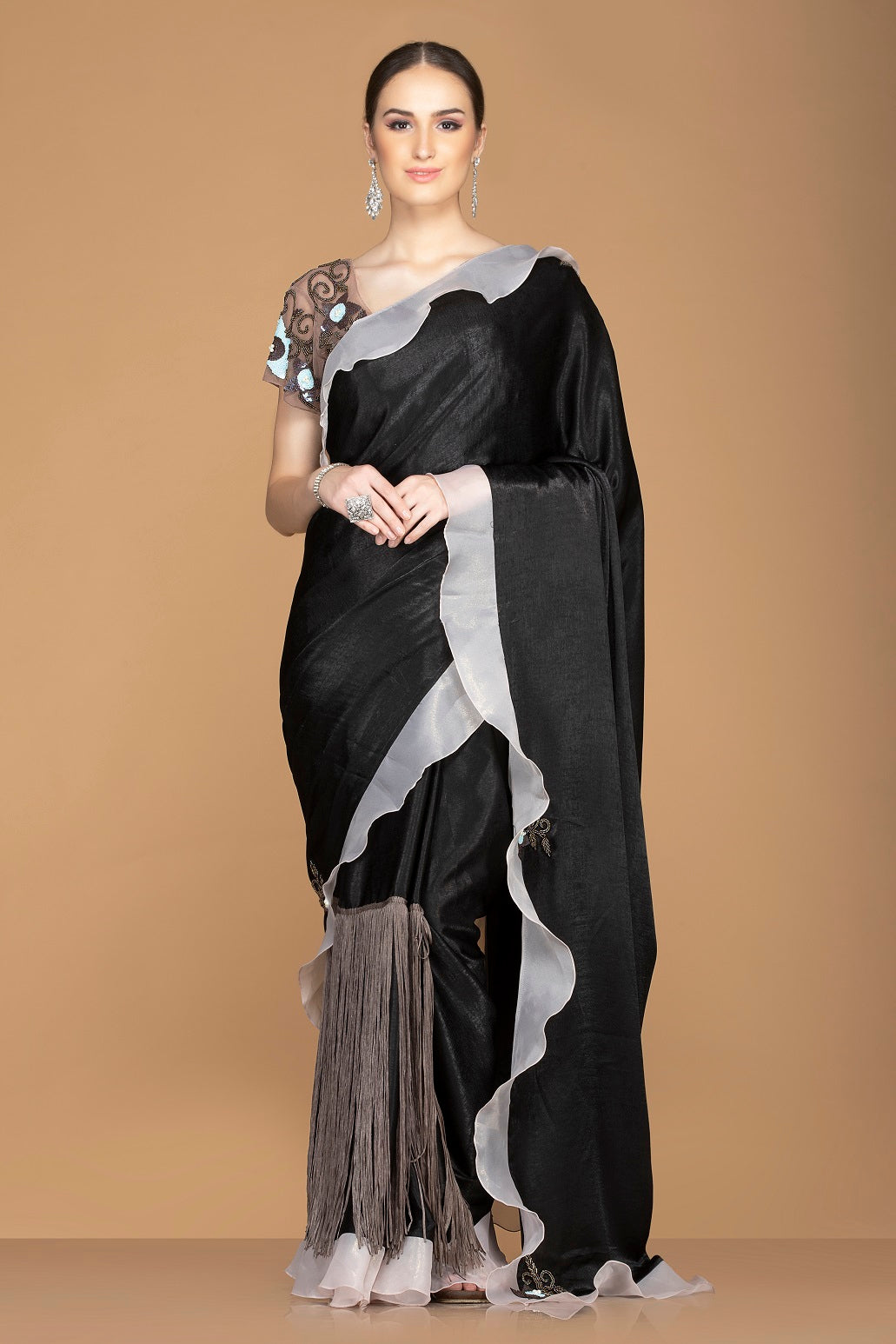 Shop black fringe saree online in USA and ruffle border and embroidered saree blouse. Elevate your sartorial choice with exclusive Indian designer sarees with blouse, embroidered sarees, party sarees from Pure Elegance Indian fashion store in USA.-full view